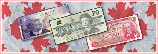 CANADA PAPER MONEY FEATURING 10, 20 AND 50 DOLLAR NOTES
