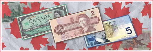 CANADA PAPER MONEY FEATURING 1, 2 AND 5 DOLLAR NOTES