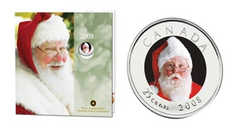2008 Canada Holiday Commemorative Coin Set with colourized 25 cent