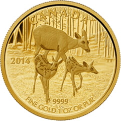 2014 Canada $200 White-Tailed Deer - Quietly Exploring Gold
