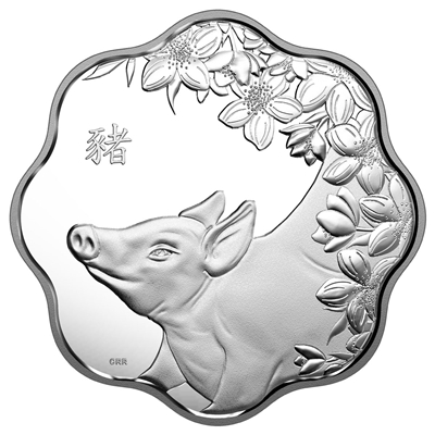 2019 Canada $15 Lunar Lotus - Year of the Pig Fine Silver Coin