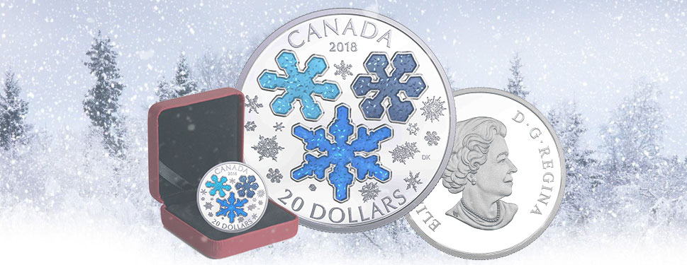2018 1 OZ $20 ICE CRYSTALS FINE SILVER COIN