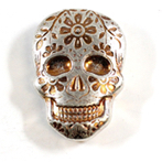 Day of the Dead Monarch 2oz Silver Sugar Skull With Daisy