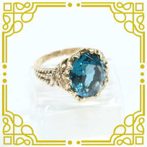 Vintage 10K Yellow Gold Topaz Ring in Custom Setting