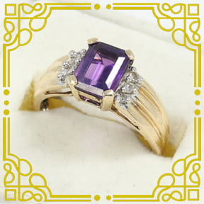 Lady's 10K Yellow & White Gold Amethyst & Diamond Ring