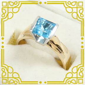 Lady's 10K Yellow & White Gold Blue Spinel Ring