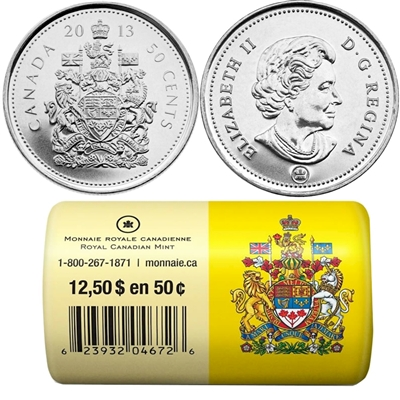2013 Canada 50cent Special Wrap Roll of 25 pcs  | Colonial Acres Coins